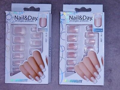 48 Faux-Ongles +Colle - French Manucure - Nail Art -  Modelite