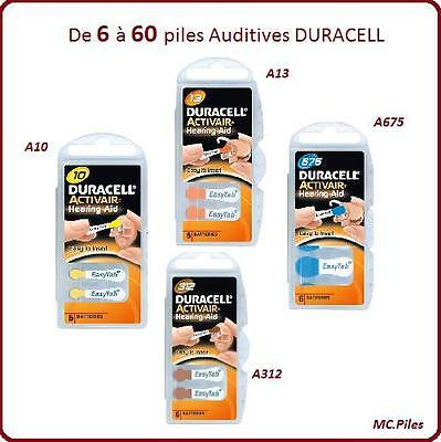 Lot de piles boutons auditives Duracell, appareils auditifs 10/13/312/675