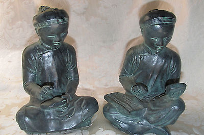 Bookends Chinese The Scholar Mathematician Statues AUSTIN SCULPTURES BronzeStyle