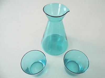 Hand Blown Aqua Glass Carafe & Two Tumblers New