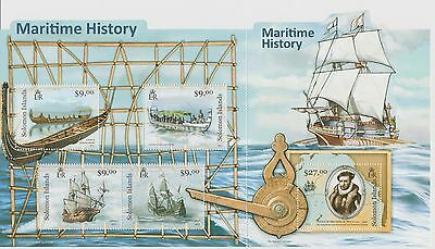 Solomon Islands Maritime History Stamp Sheet 2012 Mint