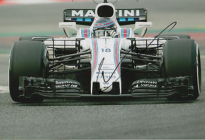 """Lance Stroll """"Formula One Williams 2017"""" signed 8x12 inch photo autograph"""