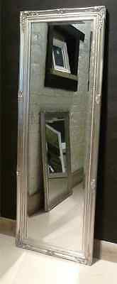 "Parisian Silver Shabby Chic Full Length Antique Dress Mirror 59"" x 21"" V Large"