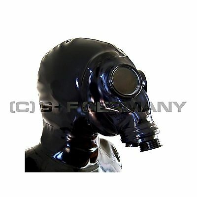 Gas Mask M41-Typ Latex Zipper Hood W. Hairguard Latexmask For Catsuit Dress Body