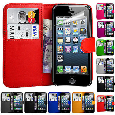 For Apple iPhone 4 5 5C & SE Fits Leather Wallet Book Magnetic Flip Case Cover