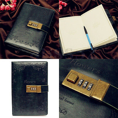 B6 Leather Dark Rose Green Embossed Journal Diary with Password Lock Notebook