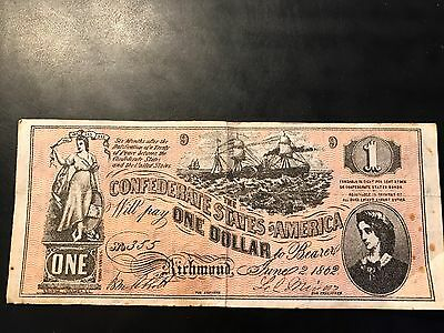 1862 Confederate States of America $1 Reproduction Note