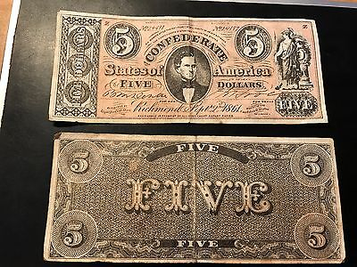 1861 Confederate States of America $5 Reproduction Note