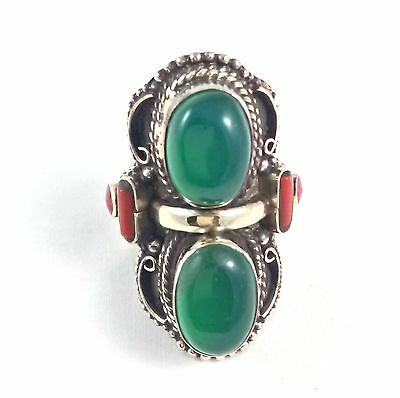 Asian Ethnic Sterling Silver Overlay Ring Multi Stone Handmade Adjustable Ring