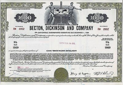 Becton Dickinson and Company 5% Debenture due 1989. ausgest. 1969 (1.000 $)