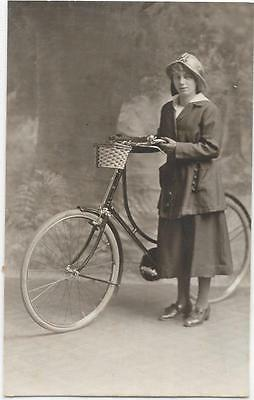 1879   Rppc Of Young Lady On Cycle  With Basket On Front Unposted