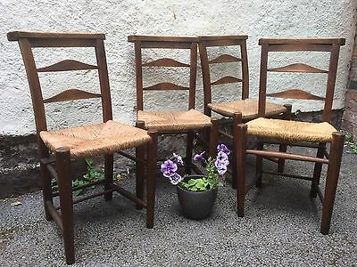 Antique Victorian Church Chapel Wooden Rush Seated Kitchen Dining Chairs