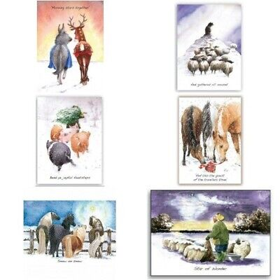 Jane Wells 5 Charity Christmas Greeting Cards Countryside Farmer Sheep Turkey