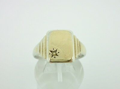 Vintage Art Deco 9ct Gold on Sterling Silver Sunburst Signet Mens Ring Size X