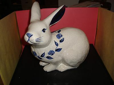 "Dedham Pottery The Potting Shed 11"" Tall Sitting Rabbit / Bunny Mint Condition"