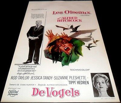 1963 The Birds ORIGINAL BELGIAN POSTER Alfred Hitchcock GREAT CONDITION