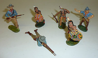 Elastolin 6 Wildwest Figuren Lot Cowboys & Indianer Karl May Serie 7,5 cm Serie