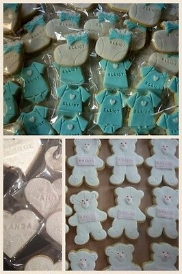 10 Personalised Baby Shower Christening Favours Party Bag Cookies Biscuits