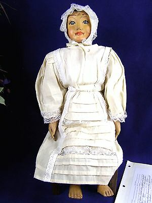 Antique/Vintage Hand Carved Wood Folk Art Doll With Evelyn Sharpe Article