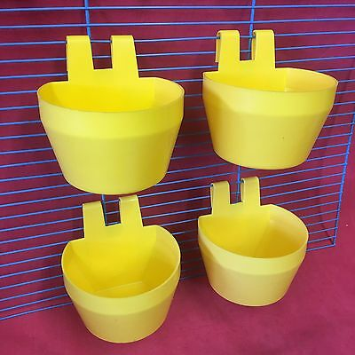4 X CAT Cage Clip On Bowl Water Food Countainer 2 Hook Coop Cup 9.5cm Travel Cup