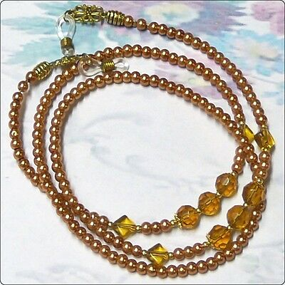 Reading Eye glasses lanyard chain gold pearl and crystal