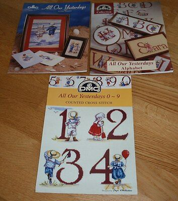 3 Dmc All Our Yesterdays Cross Stitch Chart Booklets Alphabet/numbers/seaside