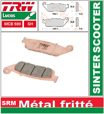 2 Plaquettes Frein Arrière TRW MCB599 SH Victory 1634 Hammer, Hammer S 08-