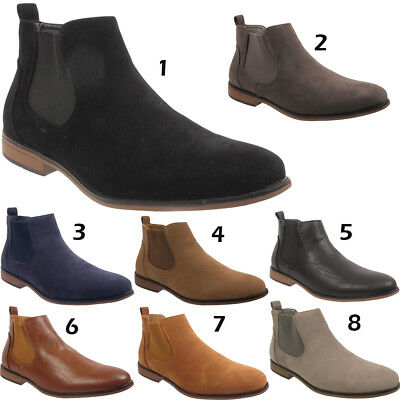 New Mens Slip On Desert Western Smart Faux Suede Chelsea Ankle Boots Shoes Sizes