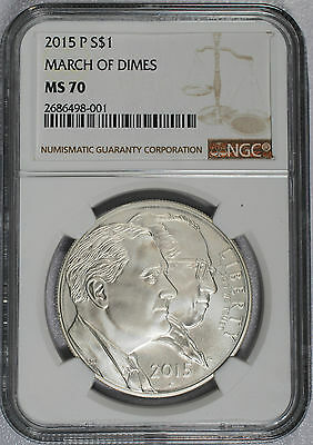 2015 - P March of Dimes Commemorative Silver Dollar - NGC MS 70 - TOP GRADE!