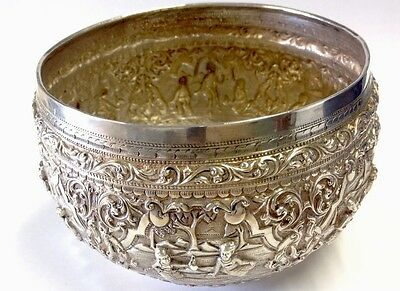 Antique Indian / Burmese / Thai Silver Bowl Repousse