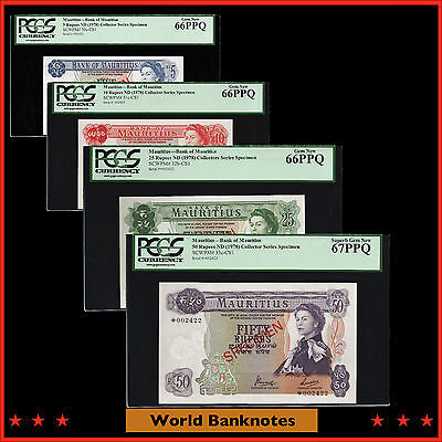 "WB. Mauritius 4 Notes Collector Series ""Specimen"" 5, 10, 25, 50 Rupees PCGS Gem"