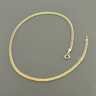 "10K Yellow Gold 2.4Mm Double Curb Link 9/10"" Adjustable Anklet Free Shipping"