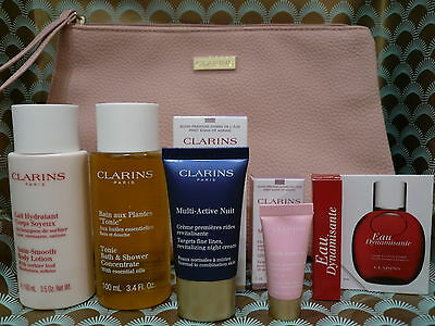 Clarins Gift Set Bag, Multi Active Cream, Eau Dynamisante, Bath & Body Lotion