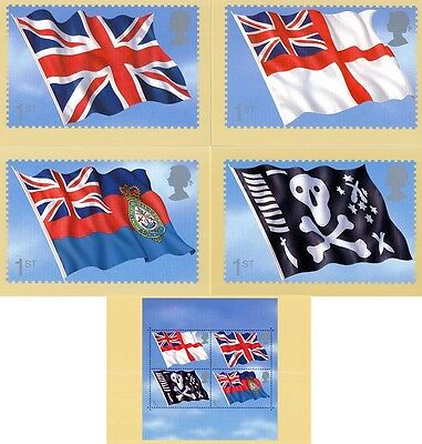 2001 PHQ CARDS No.PSM 07  Royal Navy Flags SET 5 Mint