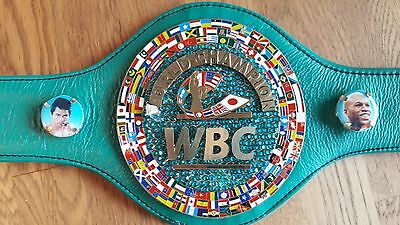 Hand signed Leather Mini  Emerald WBC Belts, Manny Pacquiao & Freddie Roach