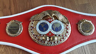Hand signed Mini replica IBF Boxing Belts by boxing legend Manny Pacquiao