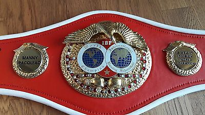 Hand signed Mini replica IBO Boxing Belts by boxing legend Manny Pacquiao