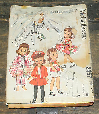 "Vintage 1961 McCall's Printed Pattern Girl Doll's Wardrobe Betsy sz 8 1/2"" Doll"