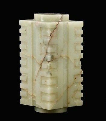 A finely carved Chinese jade archaistic Cong vase, late 18th/early 19th century