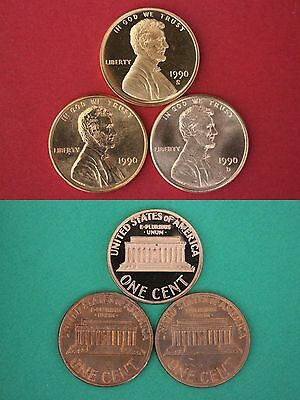 1990 P D S Lincoln Memorial Cents Mint BU & Proof 3 Coins Combined Shipping
