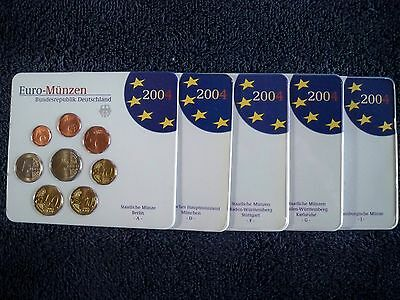 2004 German / Germany UNC EURO Set (Complete: 5 mint marks [ A, D, F, G, J ])