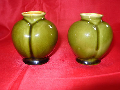 Pair LINTHORPE POTTERY Henry Tooth Green Glaze Small Vases No. 851 c1880