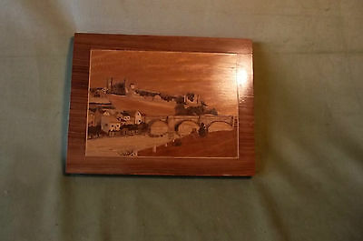 Vintage Marquetry Picture Of A Castle And River Scene