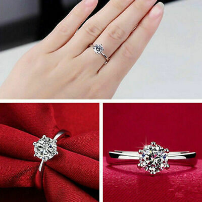 Fashion 925 Solid Sterling Silver Plated Ring Women Engagement Gift Size 5 6 7 8