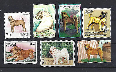 Dog Art Full Body Portrait Postage Stamp Collection CHINESE SHAR-PEI 7 x MNH
