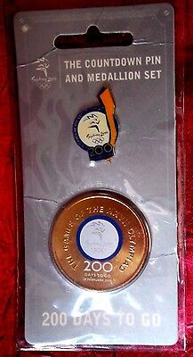 SYDNEY 2000 OLYMPICS 200 DAYS TO GO COUNTDOWN PIN and MEDALLION SET