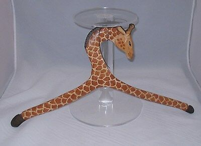"Beautiful Giraffe Wooden Hanger Hand Carved and Painted 18.5"" Wide Home Decor"