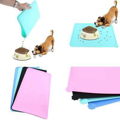 Silicone Puppy Dog Placemat Pet Cat Dish Bowl Feeding Food Water Mat Clean - CB