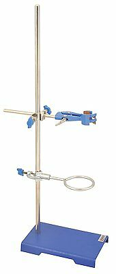 "Lab Scientific Tool Iron Cast Support Ring Stand 6""x4"" Base with Clamp and Ring"
