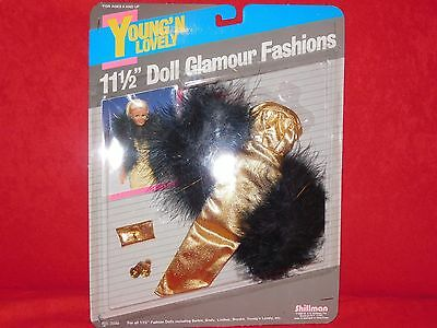 Gold Kleid Schuhe Glamour Fashion Doll Barbie Sindy Brooke Vintage Shillman Broo